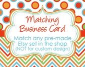 MATCHING BUSINESS CARD two-sided design for any ready made digital Etsy shop design set in my shop