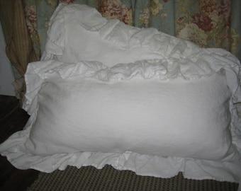 Pair of Long Ruffled King Pillow Shams---Vintage White Washed Linen Ruffled Pillow Shams--King Pillow Shams in Washed Linen