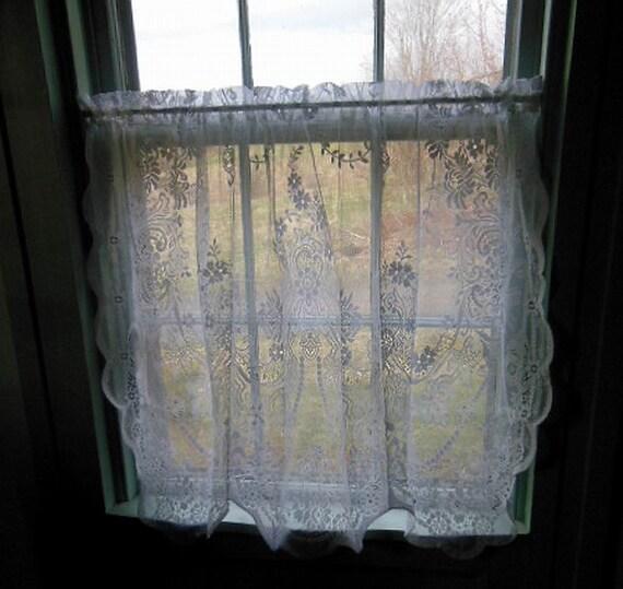 vintage white cotton lace cafe curtain
