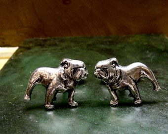 Pair of Bulldog Cufflinks in solid sterling silver Free Domestic Shipping