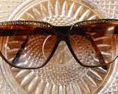 Vintage 1980's Sunglasses ~ Dorothy Kahn Glasses with Clear Rhinestone - Never Used ~ plus 2.75