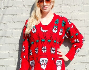 Red reindeer and Santa Christmas sweater 1980s 80s VINTAGE