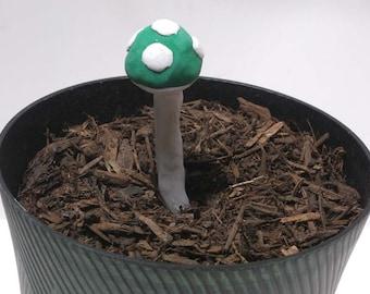 Green 1 Up Mario Mushroom Garden Stake