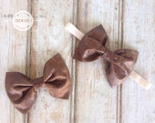 Leather Bow headband or clip