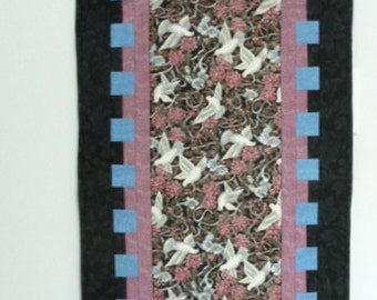 Quilt white peace doves table runner or wall hanging with black, pink and blue colors
