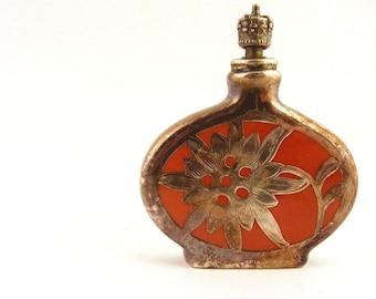 Vintage German Enamel Perfume Bottle Sterling Overlay Crown Top Orange Flower Snuff