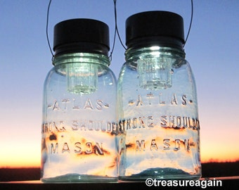 Atlas Mason Jar Solar Lights Pale Blue Hanging Antique Outdoor Lighting, Hazel Atlas Canning Jar Lights