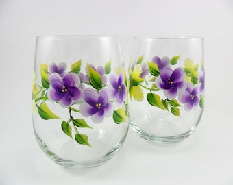 Stemless Wine Glasses Hand Painted - Yellow Roses - Purple Flowers - Set of 2 - MADE TO ORDER