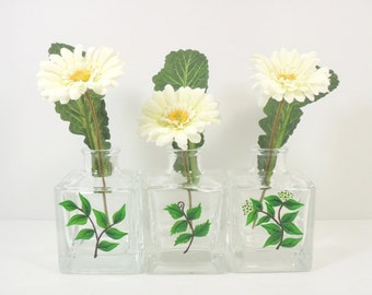 Hand Painted Herb Bud Vases Green Leaves
