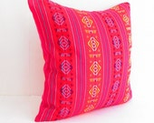 Red Pillow, Tribal Pillows Covers, Colorful Pillow Covers, Bohemian Decor, Boho Bedding, Mexican Cushion, Square, tribal pillowcase