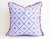 Purple pillow, Bohemian decor, Lavender Preppy purple cushion for bed or sofa, Bohemian Pillows, boho style, retro look, bedroom decor