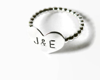 Personalized couple ring Sterling silver ring promise engraved couple jewelry cute true love ring heart initial ring sweetheart ring