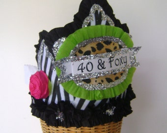 40th Birthday Party Crown, 40th birthday party hat, zebra birthday hat, customized birthday hat