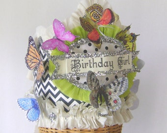 Butterfly Birthday hat, butterfly Birthday Crown, garden party hat, Birthday Girl or customize