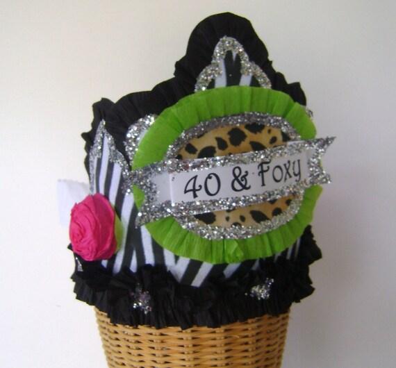 40th Birthday Party Crown Hat Zebra Customized