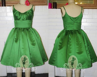 Pinup Rockabilly Dress- Short Wedding Guest Party- Satin Chiffon--Custom Made
