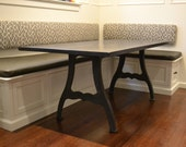 Wood Farm Dining Table With Industrial Machine Legs, Dining Table, Dark Wood Table, Farm Table - Free Shipping