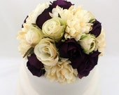 Wedding Cake Topper - Purple, Ivory Rose, Ivory Mum Silk Flower Cake Topper, Silk Wedding Cake Flowers, Purple and Ivory Cake Topper