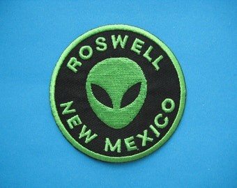 Iron-on Embroidered Patch Roswell Alien 2.9 inch