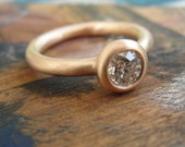 Diamond Engagement Ring -  Solitaire Ring  -  Engagement Ring - 18k Red Gold and Diamond Ring