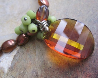 chartreuse and burnt orange - the shiloh necklace