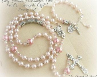 Beautiful Pink Pearl & Swarovski Pink Crystal Baby Baptism Rosary Set
