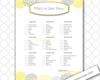 What's in Your Purse Baby Shower Game, yellow grey bridal shower game, printable yellow baby shower games, instant download
