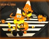Candy corn Nightmare / Halloween / ooak art doll / Black / orange/