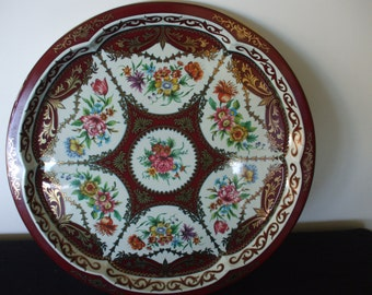 Daher Tray, Wine Background, White/Gold Accents, Floral Designs,  Metal Tray,  Vintage,  Home Decor,  #4955