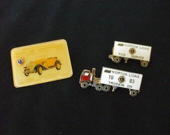 Lions Club  Cars , Trucks Pins (3) ,  1980's  , ,Various  Shapes, Enamel, Vintage, #5157