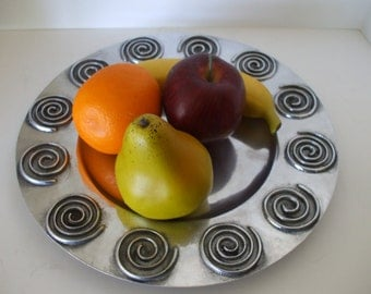 """Metal Serving Tray Round, Embossed designs.  Large , 12"""" in diameter , Home Decor, Gifts, #3563"""