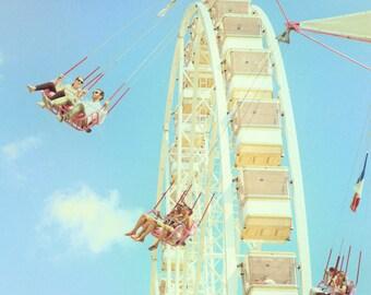 Summer Carnival 2 : ferris wheel photography paris whimsical jardin des tuileries retro blue sky home decor 8x12 12x18 16x24 20x30 24x36