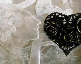 1930's Black Celluloid Heart Pin