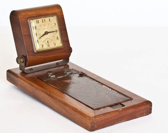 Vintage Phone Directory and Wood Case Clock