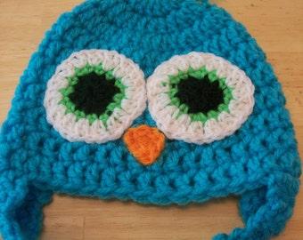 3 -6 month Blue Owl hat