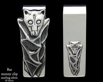 Bat Money Clip Sterling Silver