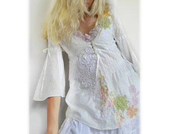 White cotton upcycled romantic boho/hippie chic style blouse
