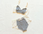 Bon Voyage Nautical Navy and White Lace Lingerie Bra and Panties Set Handmade to Order by Ohh Lulu