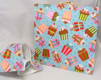 Cupcake Sandwich bag - reusable baggie cloth lunch mat ecofriendly cotton sandwich bag Ann Kelle Girl Friends