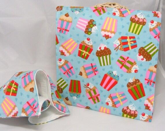 Cupcake Sandwich bag - reusable baggie cloth lunch mat ecofriendly cotton sandwich bag Ann Kelle Girl Friends
