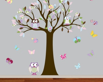 Vinyl Wall Decal  Vinyl Wall Decal Stickers Owl Tree Set Nursery Girls Baby