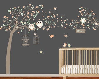 Vinyl Wall Decal  Wall Decal Tree with Birdcages, Bird, Birds, Baby Wall Decal - Nursery Wall Decal