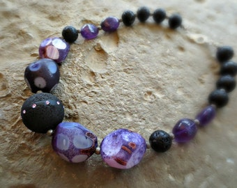 Statement Necklace , Stone Necklace, Lava Rock With Swarovski Crystals,  Agate, Amethyst