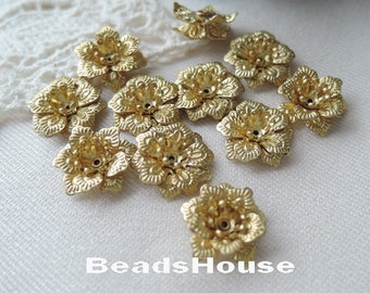 FF-600-R   10pcs  Raw Brass  2-Layer Beadcap charms,Nickel Free.