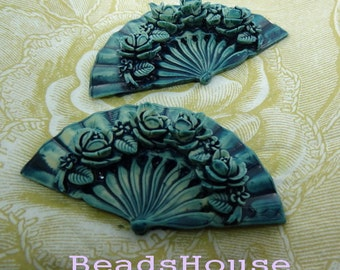 20%off  2pcs Tie-Dyed Beautiful Roses Fan Cabochon - Blue