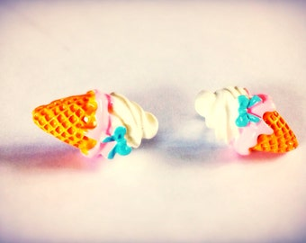 Ice Cream Cone Earrings, ice cream cone post earrings, miniature food, kawaii, hypoallergenic for sensitive ears option available