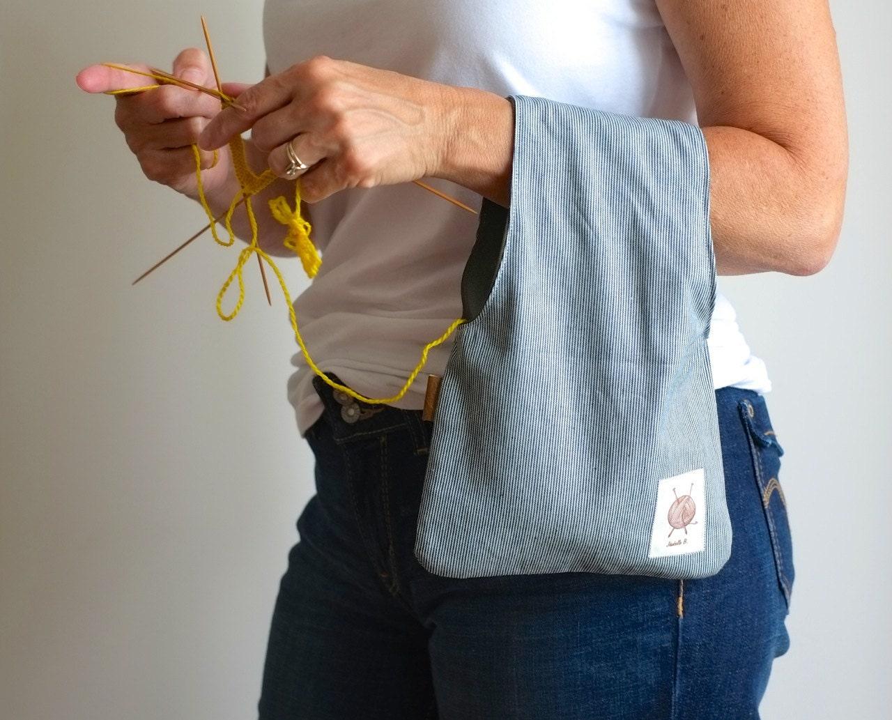 Knitting bag Project bag Striped pouch Wristlet by JesabelleB