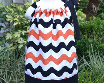 Halloween Pillowcase Dress, Chevron dress, girls Halloween outfit, little girls Halloween dress, orange and black Halloween party dress