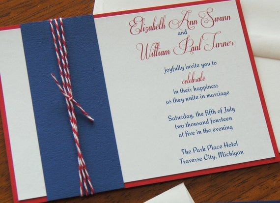 Wedding Invitation Set - Celebrate - CUSTOMIZED SAMPLE Price - 5x7 - Fourth of July - July 4th - Independence - Please read for lower prices