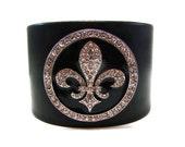 Black and Silver Crystal Fleur de Lis Leather Cuff - Mardi Gras Fleur de Lys Jewelry - Handcrafted Designer French Accessory